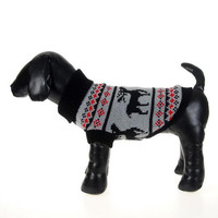 Trendy Puppy Dog Pet Cat Sweater Xmas Deer Knitwear Coat Puppy Clothes Apparel Free Shipping