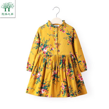 2017 new Cute Baby Girl Dress Cotton Girls Dresses  Casual Kids Autumn Spring Clothing long sleeve yellow 2t 3t 4t 5t 6t