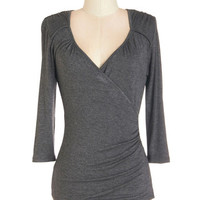ModCloth Mid-length 3 Seemingly Sew Top in Charcoal - 3, 4 Sleeves