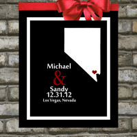Nevada Map. Print, Personalized Wedding Gift: Custom Wedding Location - 8x10 City, Reno, Las Vegas - Any State Country, In Las Vegas Nevada