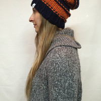 Knit Slouchy Hat Beanie Striped Chicago Bears Colors Orange Navy Cozy Warm