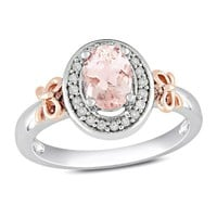 14k Rose Gold and Sterling Silver, Diamond and Morganite Bow Ring, (0.1 cttw, GH Color, I2 Clarity)