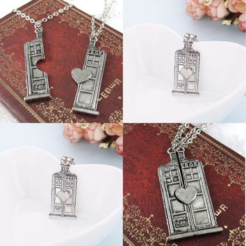 Dr. Who Tardis Police Box Couples' Necklaces