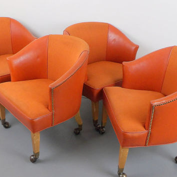 Club Barrel Chairs Set of 4 Orange Vinyl Game Poker Table Chair Mid Century Modern Rolling Casters Office Lounge Area Bar Bistro Naugahyde