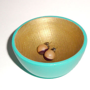 Turquoise and gold wood dish, jewelry dish, ring cup, mini jewelry holder