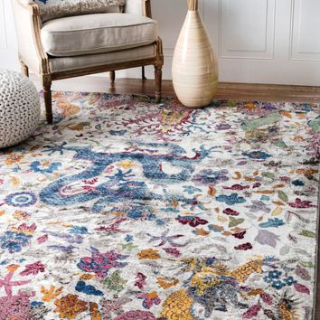 nuLOOM Margo Floral Dragon Area Rug