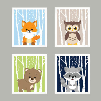 Woodland Nursery, Forest Animals, Nursery Print, Nursery Decor, Baby Decor, Wall Art, Wall Decor, Baby Print, Animal Print, Woodland Animals