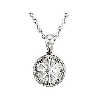 Vintage Style Diamond Circle Necklace in Sterling Silver