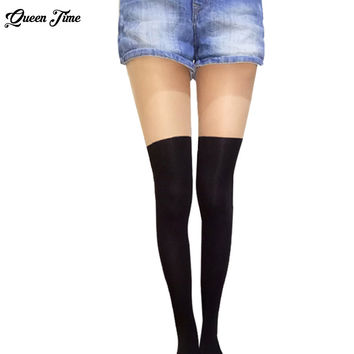 Women Over the Knee Tattoo Tights,Black Mixed Colors Gipsy Mock Ribbed,Sexy Tinted Sheer False High Stocking Pantyhose