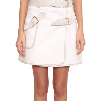 Derek Lam10 Crosby Stretch-cotton skirt with buckles