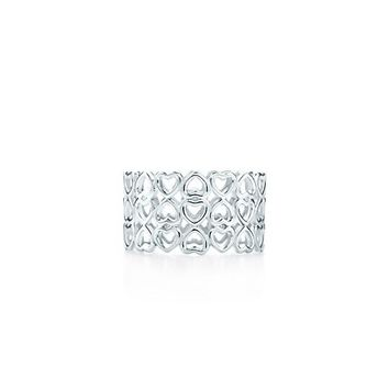 Tiffany & Co. -  Paloma's Crown of Hearts three-row ring in sterling silver.