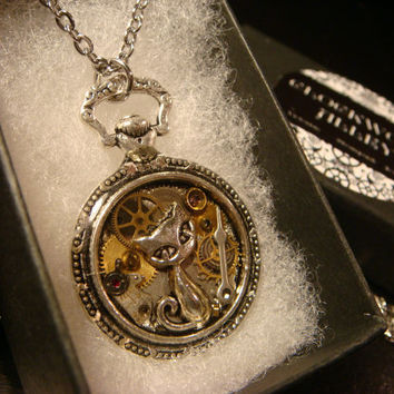Clockwork Cat Steampunk Pocket Watch Pendant Necklace -Made with Real Watch Parts (2262)