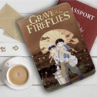 Grave of the Fireflies Leather Passport Wallet Case Cover