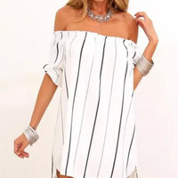 White Off-the-Shoulder Chiffon Dress