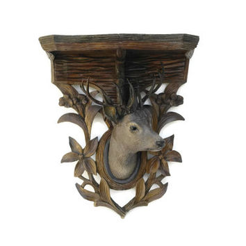 Antique Black Forest Carved Stags Head Trophy Wall Bracket Shelf.