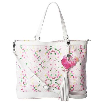 White Print Large Tote Bag