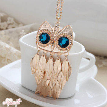 Fashion Retro /Gold Leaves Blue Eye Owl Long Necklace Sweater Chain 2 Colors