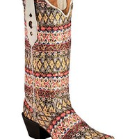 Tanner Mark Aztec Serape Fabric Cowgirl Boots - Pointed Toe - Sheplers