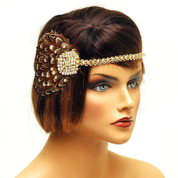 Great Gatsby Flapper Headband, 1920's Headpiece, Gatsby Party, Roaring 20's Rhinestone Headpiece, Flapper Dress