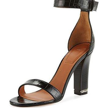 Givenchy Chain Crocodile-Embossed 105mm Sandal, Black 39.5