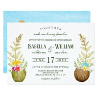 Elegant Tropical Summer Wedding Invitvitation Card