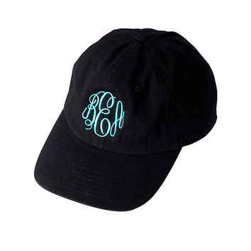 Monogram Cap Twill 6 panel - Personalized Hat - Custom Black - EMBROIDERED Ladies Baseball Cap Sorority bridesmaid