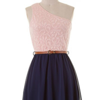 Reception Ready Dress - Navy and Peach