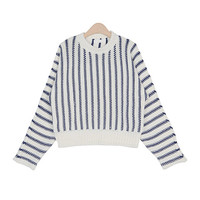 Striped Round-Neck Knit Top