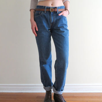 90's Levi's Jeans Boot Cut Denim Boyfriend Fit Hiphugger Cuff Jeans GRUNGE Women Size 26 Small