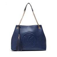"""Michael Kors"" Simple Fashion Tote Metal Chain Single Shoulder Shopper Bag MK Letter Women Large Handbag"