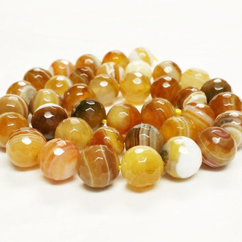 Brown Striped Agate Faceted Round Beads, 10mm Agate Beads, Natural Agate Beads, Facted Beads, Striped Agate Beads, 10mm