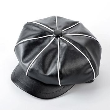 2017 Winter PU Leather Newsboy Caps For Women Black White Leather Octagonal Hat Girls Patchwork Color Berets Hats Female Gorras