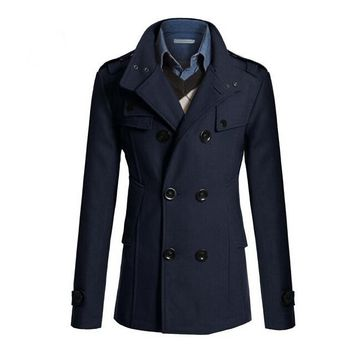 Slim Fit Long Coat Warm Double Breasted Peacoat Coat Jacket four-colors