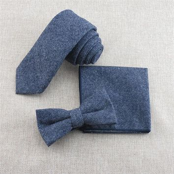 Upscale Wool Necktie Suits Tie Bow Tie And Handkerchief Set Wedding Gravatas Cravat Pocket Square Male Bow Ties Hanky