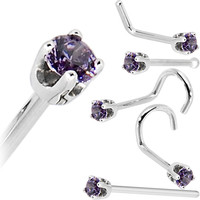 Solid 14KT White Gold 2mm Amethyst Cubic Zirconia Nose Ring