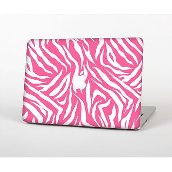 The Pink & White Vector Zebra Print Skin Set for the Apple MacBook Air 13""