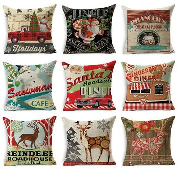 Vintage Stamp Pattern Printted Christmas Throw Pillow Case Cotton Linen Sofa Couch seat Cushion Cover for Home Bedding Decor