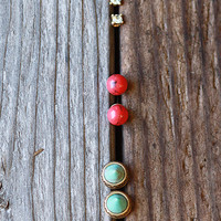 Tribal Cone Turquoise Earring Set