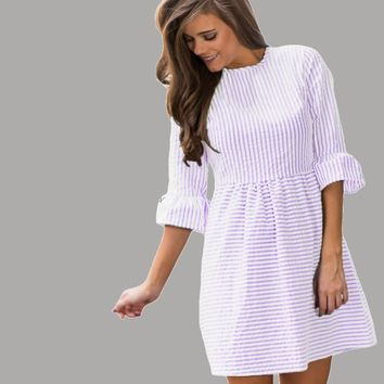 Stripe Flounce Sleeve Seersucker Short Dress See All 5 Colors
