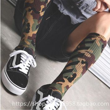 Mens Off Camouflage Twill Socks Cotton Skateboard Black White NEW