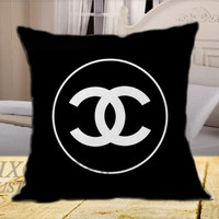 Chanel Black Logo on Square Pillow Cover