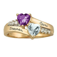 10K Gold Sweetheart Couple's Hearts Ring with Cubic Zirconia Accents by ArtCarved® (2 Stones and Names)