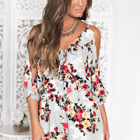 Sweet Obsession Floral Romper (Grey)