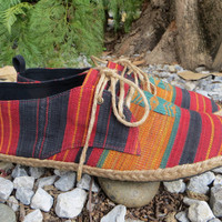 Vegan Mens Shoes, Sneakers, Lace Up Oxford In Hand Woven Tribal Naga Textiles