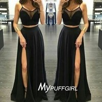 Black Silk Chiffon Two Piece Long Party Dress, Prom Gown With High Slit