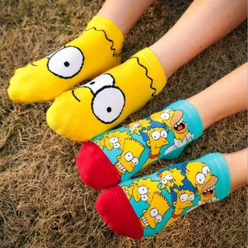 Simpson Cartoon women cotton comfortable odorless moisture wicking boat socks for women causal women socks dress free shipping