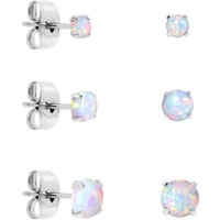 White Synthetic Opal Stainless Steel Post Stud Earring Pack of 3