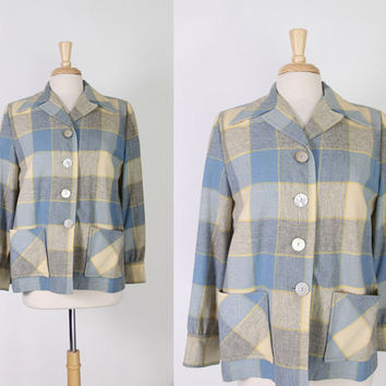 50s WOOL 49er JACKET / 1950s Blue & Gray PENDLETON Plaid Jacket, m-l