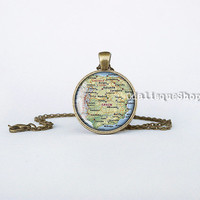Spain Map Necklace Spain Pendant Handcrafted Spain Jewelry Handmade Espana Necklace Travelling gift bronze cb54b