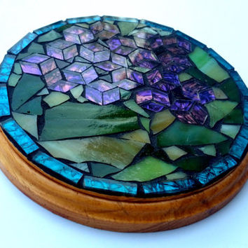 Small Mosaic Art Trivet featuring African Violets. Woodland Kitchen Table Decor, Nature Dining Accessory, Purple Flower Housewarming Gift.